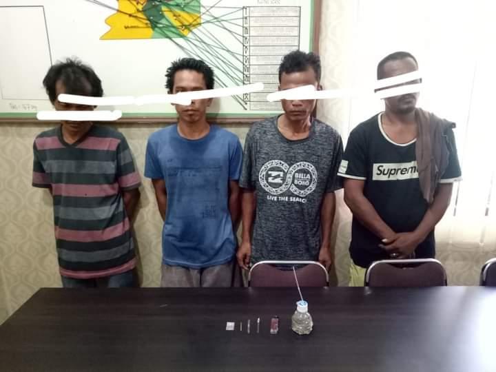 4 Orang Diringkus Polisi Sedang Berpesta Sabu, 1 Orang Pengedar Ikut Terseret Di Bagan Batu