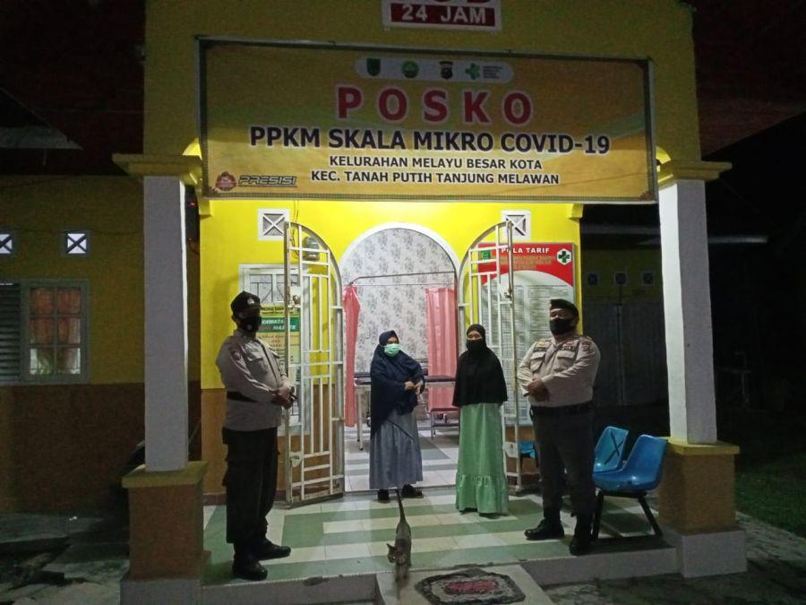 Polsek TPTM Lakukan Giat Sosialisasi dan Himbauan di Posko PPKM Mikro