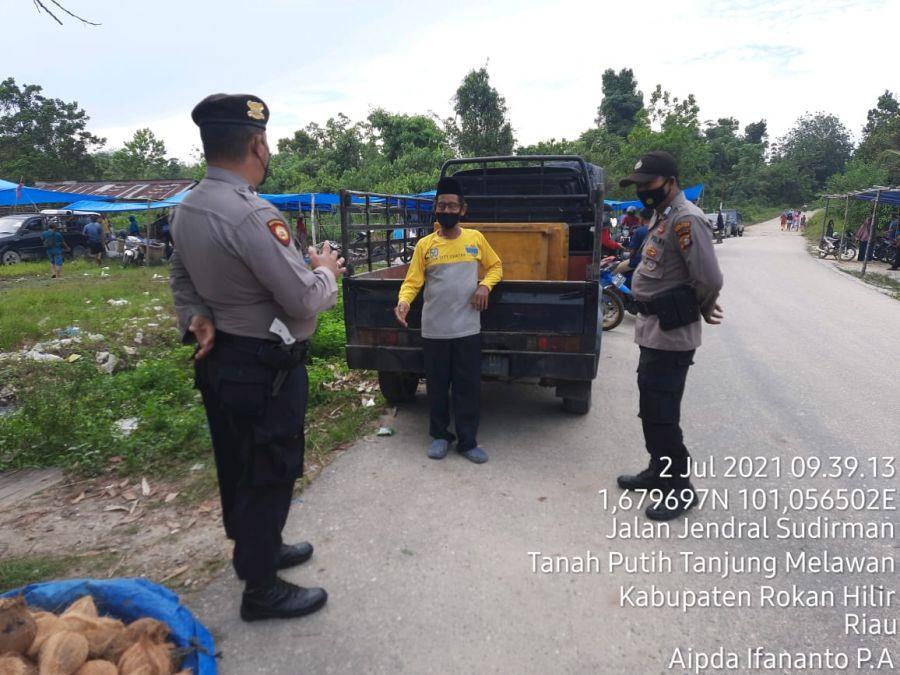 Polsek TPTM Melaksanakan Patroli Wilayah Sampaikan Himbauan Prokes