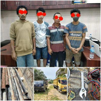 4 Orang Pencurian Pipa Milik PT Chevron di Amankan Di Polres Rohil