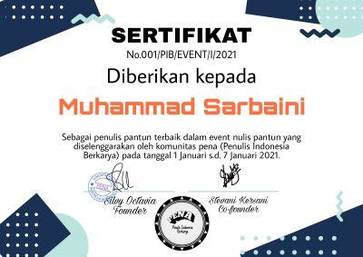 Pantun Juara Terbaik 1 Muhammad Sarbaini Alias Rahmat Pantun